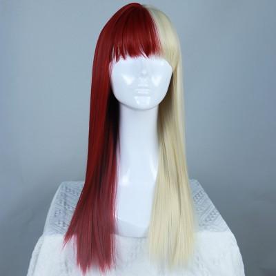 Red Velvet | Half Red Half Blonde Long Straight Synthetic Wig